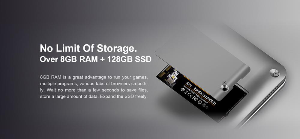 Teclast F5 360 laptop con 8 GB en RAM , 128 SSD y se puede expandir fácilmente