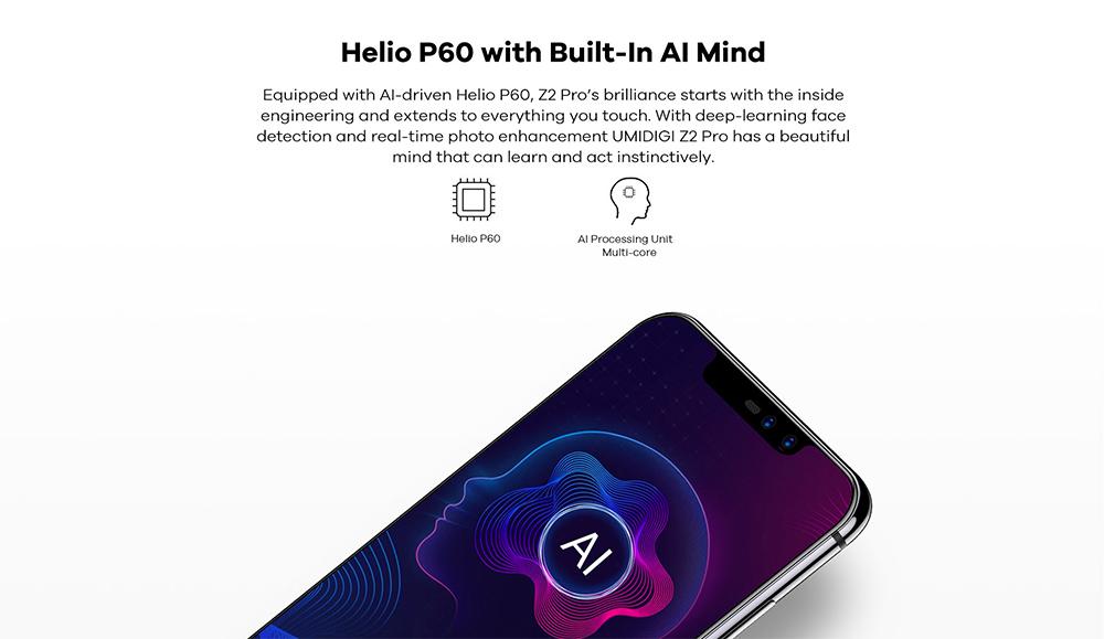 UMIDIGI Z2 Pro lanzamiento - Procesador Helio P60, 6 GB en RAM y 128 GB en ROM.