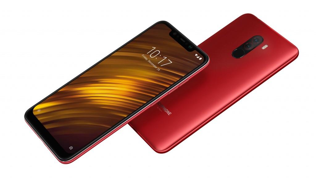 Xiaomi Pocophone F1 oficial con Snapdragon 845 a precio accesible - posterior y pantalla notch color rojo
