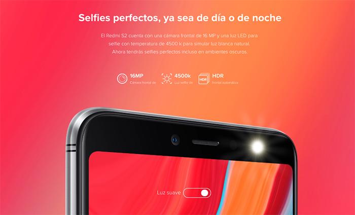 Xiaomi Redmi S2 en Telcel - cámara selfie con flash LED