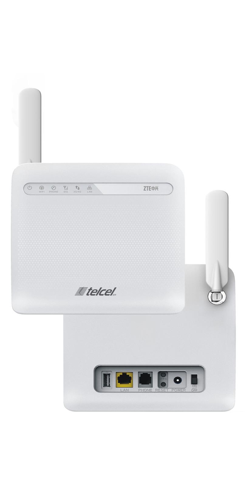 Router ZTE y Telcel ambos lados