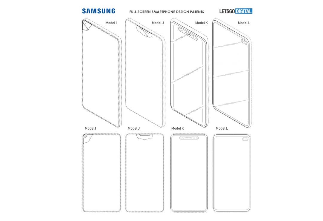 Samsung Galaxy patentes para smartphones en 2019 con pantallas completas y notch