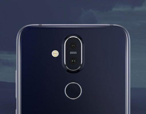 Nokia 8.1 X7 cámara posterior Dual Carl Zeiss, flash LED y lector de huellas